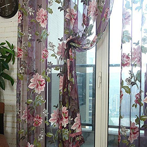 Aolvo Flower Curtain Transparent Tulle Curtains Semi Sheer Window Curtains Window Screening Treatments Living Room Children Bedroom Sheer Curtain 39 X78 Inch