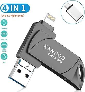 Memoria USB 3.0 32GB para iPhone y iPad OTG [4 en 1] Pendrive Memoria Flash USB Compatible con USB C/Android/PC/iOS13/ Macbook: Amazon.es: Electrónica