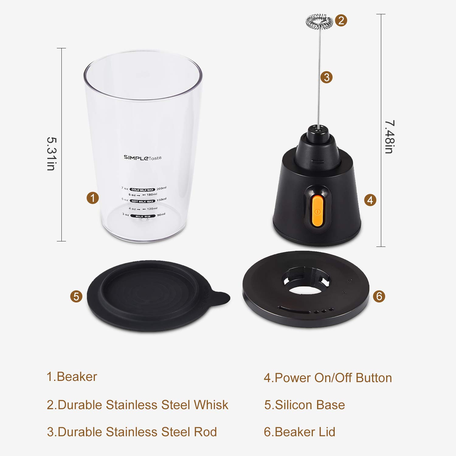 SIMPLETASTE Electric Milk Frother Automatic Battery Operated Foam Maker Coffee, Cappuccino and Latte, 3.74 x 3.74 x 7.68 inch, Black by SIMPLETASTE (Image #2)