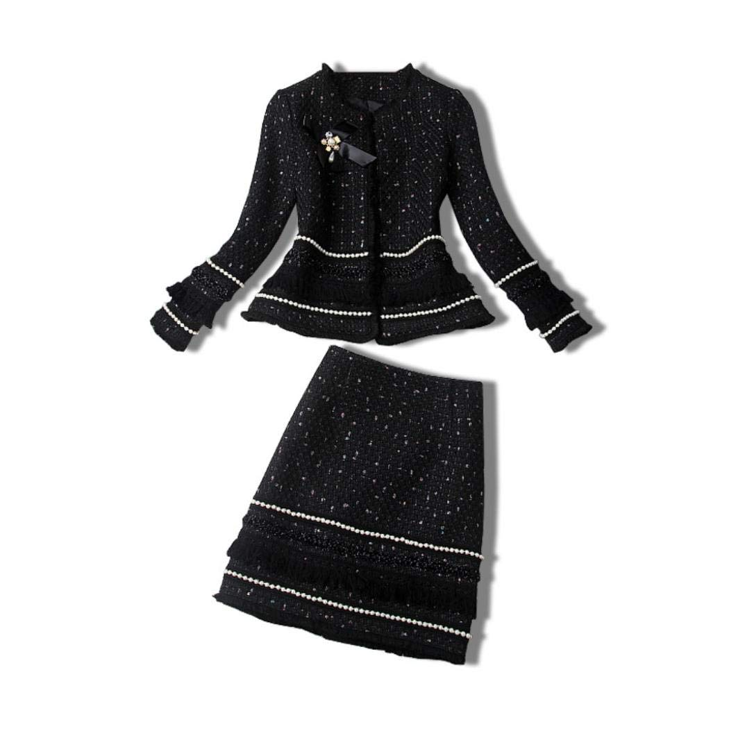 Black VCENIS 2019 Fall Winter Women New Beaded Bow Tweed Tassels Short Skirt Suits Two Piece Set