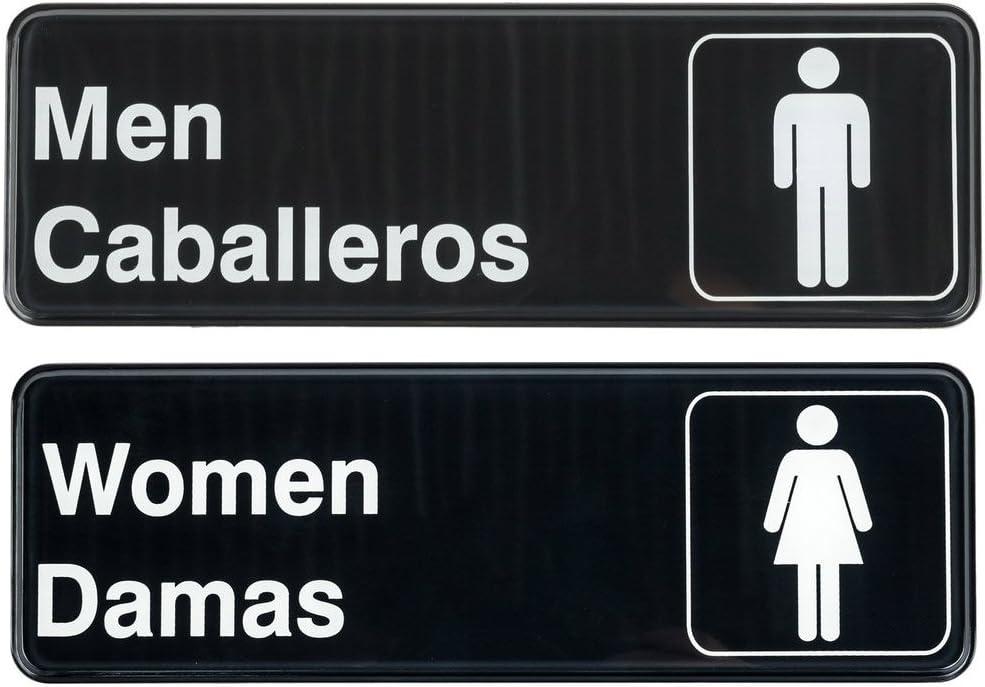 """Men/Caballeros & Women/Damas Restrooms Signs Set, Toilet Door Plate for Business Restaurant, 3"""" x 9"""""""