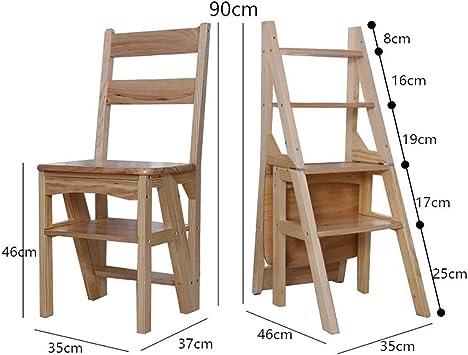Plegables Escalera,silla Multifunción Escalera Madera Escaleras De Mano Multiusos 4 Pasos Escalera Para El Hogar Loft Oficina-e 46x35x85cm(18x14x33inch): Amazon.es: Bricolaje y herramientas