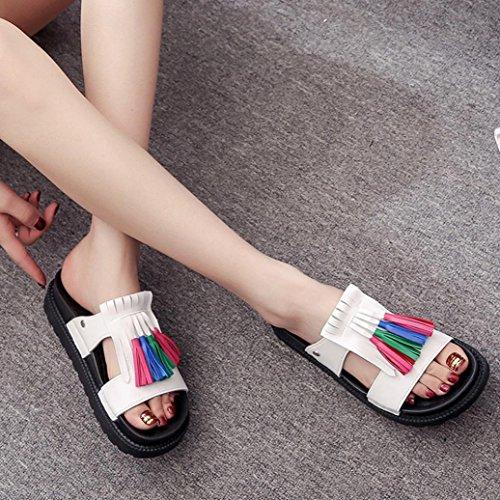 Elevin (tm) Donne Estate Moda Peep-toe Frangia Nappa Piattaforma Piatta Infradito Pantofole Sandalo Scarpe Bianche