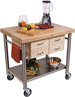 product image for John Boos Cucina Americana Veneto Kitchen Cart with Wood Top