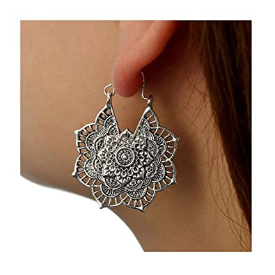 90eb1fd60c Amazon.com: J MENG Vintage Bohemian Hoop Earrings Hollow Flower ...