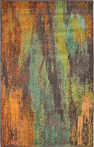 Unique Loom Jardin Collection Vibrant Abstract Multi Area Rug (3' 3 x 5' 3) ()
