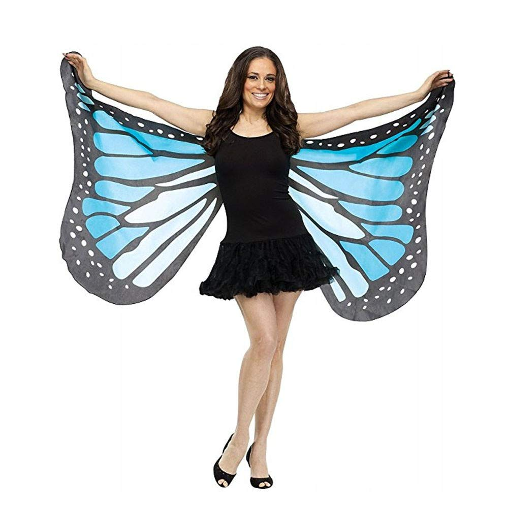 Buolo-Carnival Women Monarch Butterfly Wings Shawl Purple Fairy Ladies Cape Nymph Pixie Costume Accessory Halloween Dress Up Party Prop (Blue)