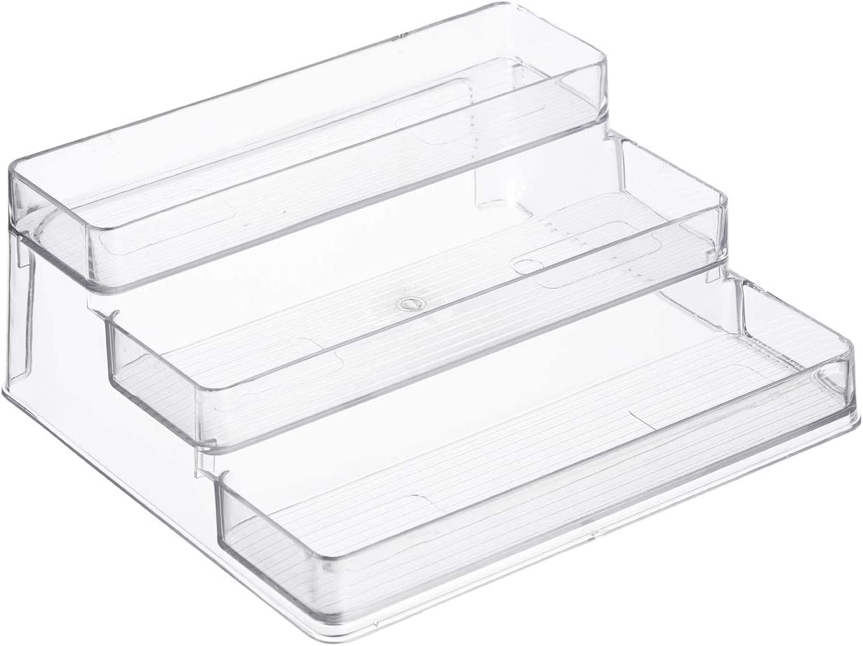 Home Intuition 3-Tier Spice Rack Step Shelf Cabinet Organizer, Clear (1)