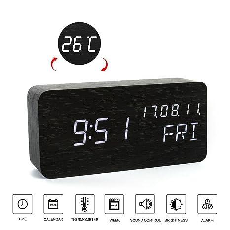 Bzng Reloj de Escritorio de Oficina- Despertador Digital LED de Madera Control de Voz con