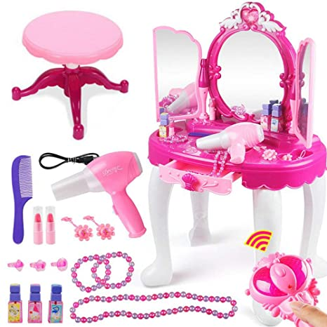 Peachy Fascinating Princess Dresser Children Dressing Table Stool Mirror Hair Dryer Light Music Dress Up Makeup Tools Set Girls Birthday Gift Toy Pink Ncnpc Chair Design For Home Ncnpcorg