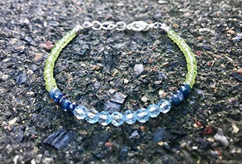 - JP_Beads Blue Topaz, Sapphire and Peridot Wire Strung Beaded Bracelet with Sterling Silver Lobster Clasp and Extension Chain 3-4 mm