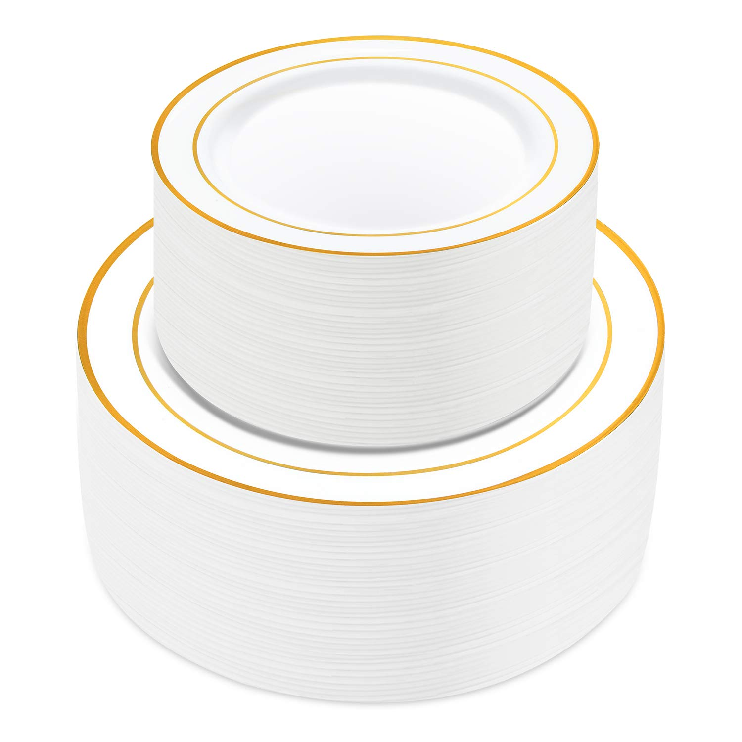 100 Pieces Gold Plastic Plates,HabiLife White Party Plates, Disposable Plastic Wedding Party Plates 50 Dinner Plates 10.2 inches and 50 Salad/Dessert Plates 7.5 inches ... by HabiLife