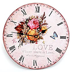 RELIAN Decorative Wall Clock 14 Inch Rose Butterfly Vintage Round Clock Silent Non Ticking for Home Decor