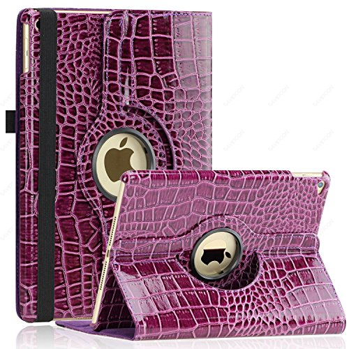 iPad Air 2 Case (Released 2014), SAWE - PU Leather Case with 360 Degrees Rotating Swivel Stand Folio Case Smart Cover for New iPad Air 2 2nd (iPad 6) Gen with Sleep / Wake Up Feature WiFi & 4G LTE (Deep Purple Crocodile)