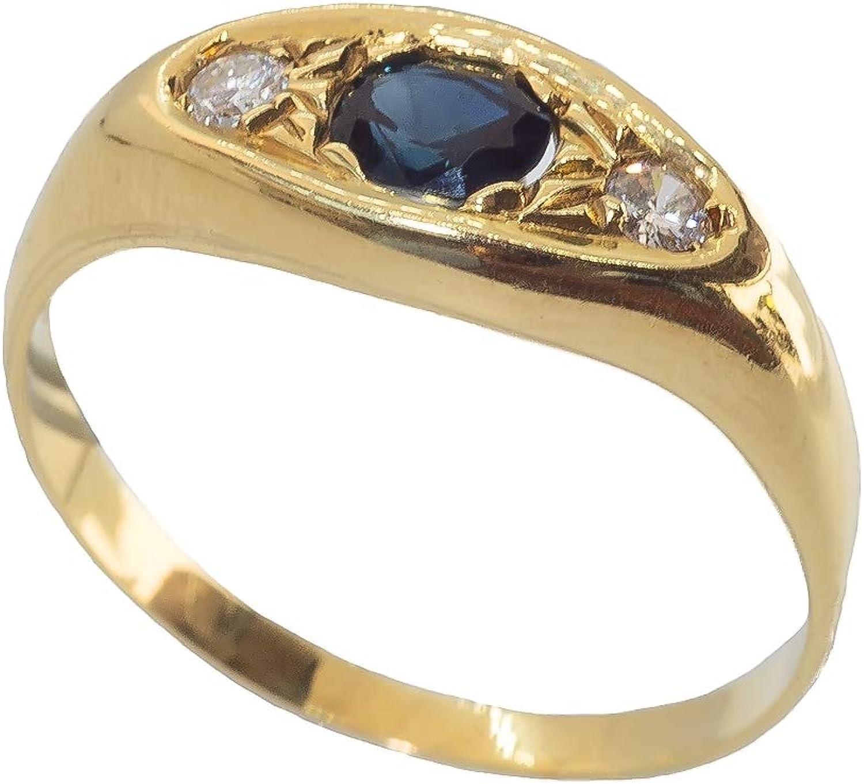 Anillo para hombre de oro de 18 quilates 750 con zafiro y diamantes - Anillo de oro de 18 quilates con zafiro y diamante