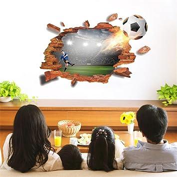 Typ 1 Wandsticker Wandfiguren 3d Aufkleber Wand Fussball 3d