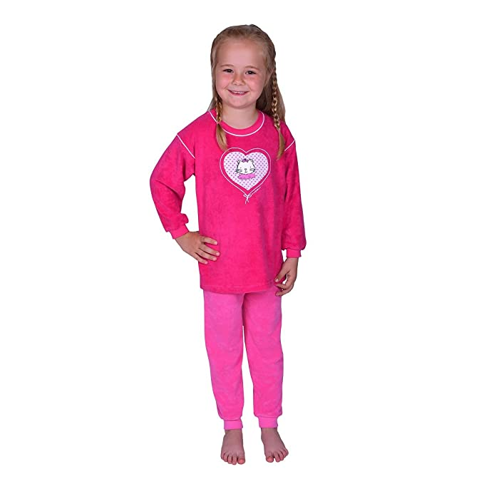 Mauz Pijama para niñas de Dos Piezas de Tejido de Rizo con Motivo de un Gato