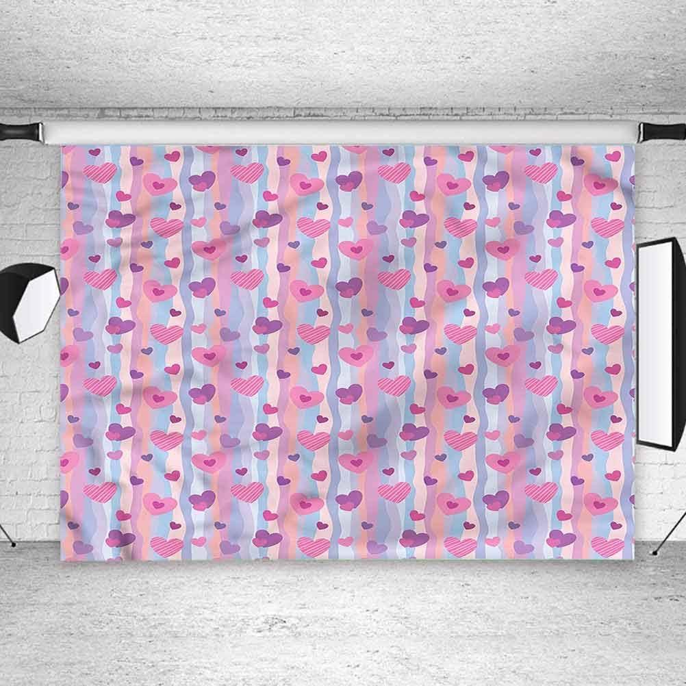 6x6FT Vinyl Photo Backdrops,Love,Hearts Stripes Wedding Background Newborn Birthday Party Banner Photo Shoot Booth