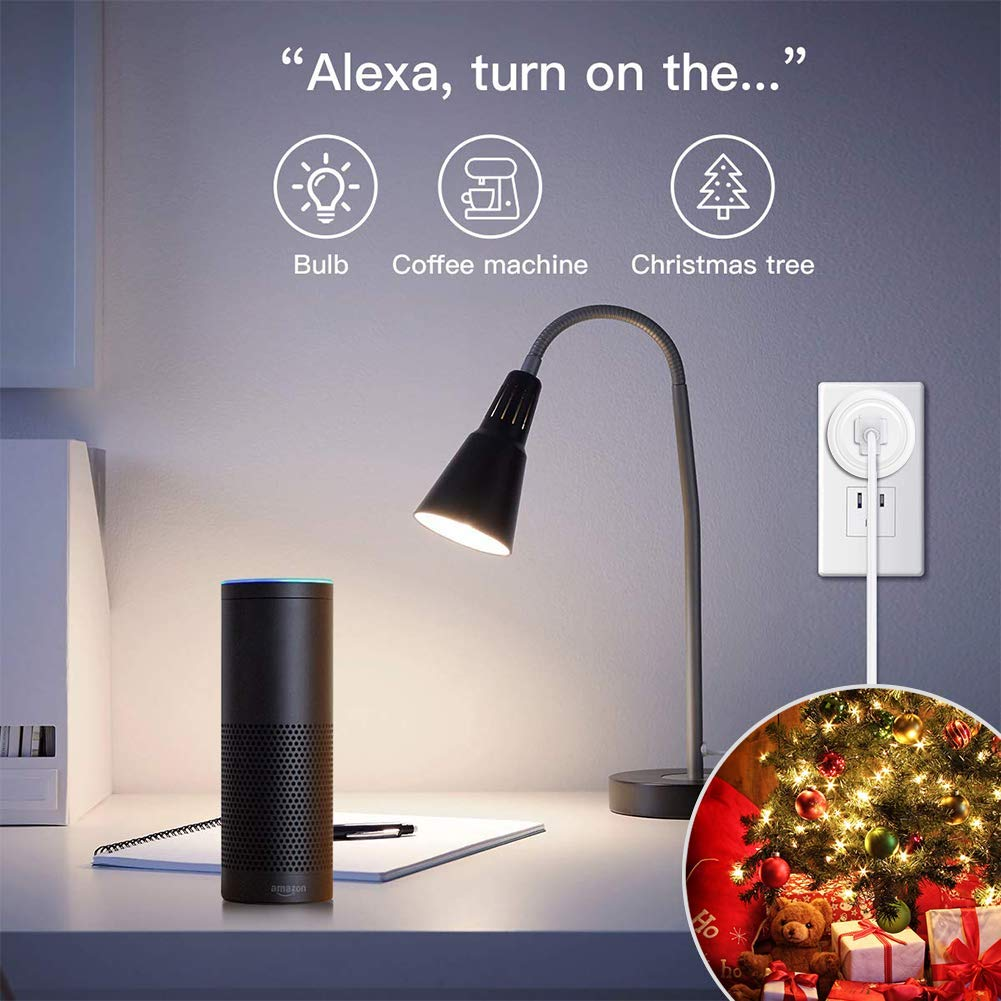 White FCC ETL Certified Smart WiFi Plug,Yiroka Mini Smart Outlet Wifi Socket 10 Amp with Timer Function Compatible with Alexa Echo /& Google Assistant No Hub Required