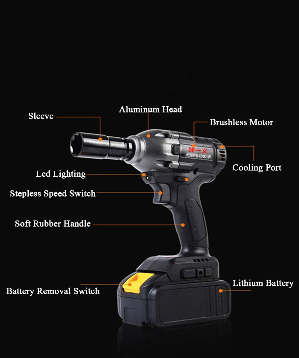 par m/áximo de 650 NM Velocidad Variable de 2 Engranajes con luz de Trabajo LED 6 enchufes Juego de enchufes 188TV ELECTOLS Llave de Impacto el/éctrica inal/ámbrica 168TV