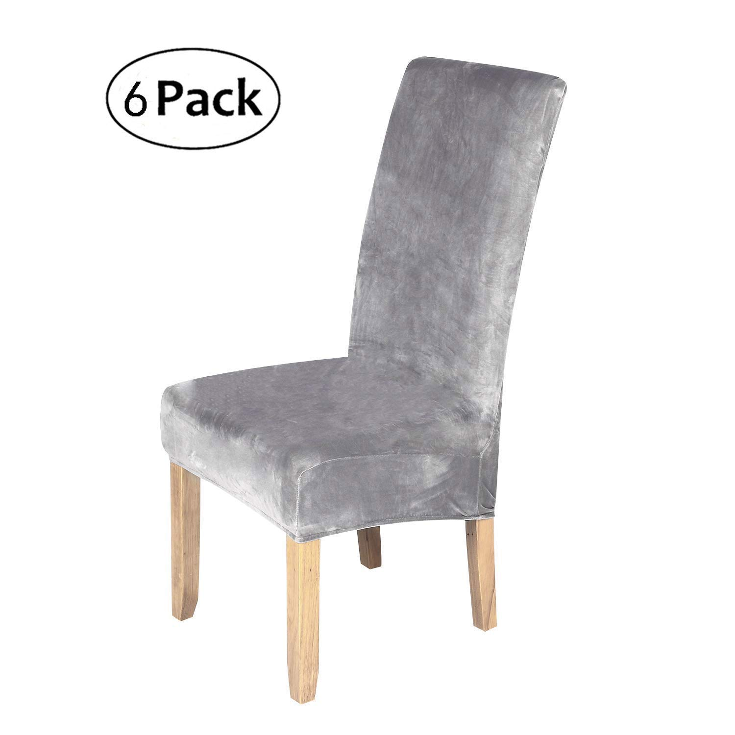 stretch chair covers for dining room silver grey set of 6 velvet rh amazon co uk