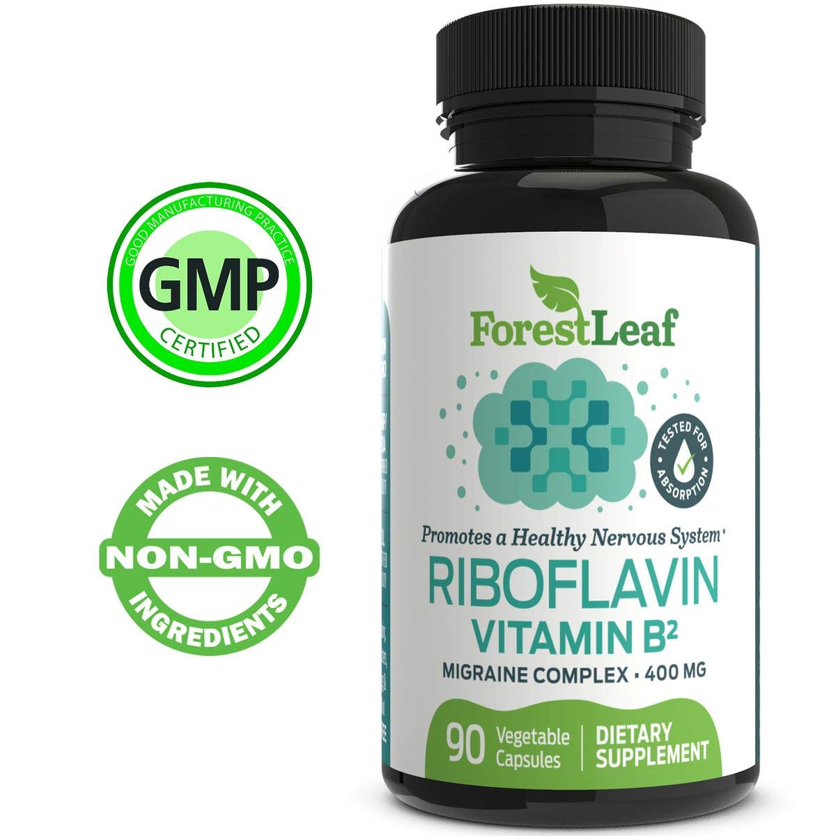Vitamin B2 Riboflavin, 400mg - 90 Capsules - Promotes Healthier Blood, Nervous System and Helps Boost Energy and Metabolism - Non-GMO, Gluten Free Daily Dietary Supplement - by ForestLeaf by ForestLeaf