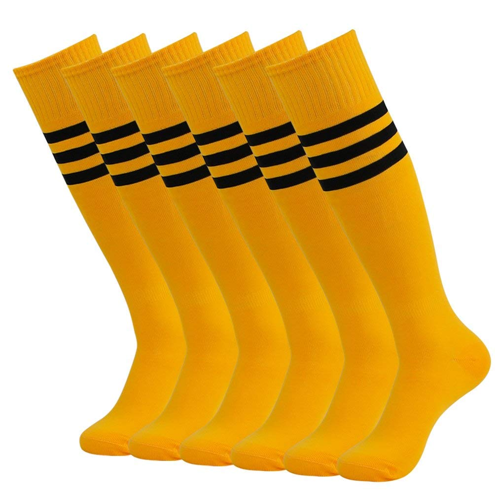 Volleyball Team Socks, Mifidy Knee High Football Soccer Team Sports Tube Long Cheering Squad Socks White Triple Stripes Yellow 6 Pairs by Mifidy