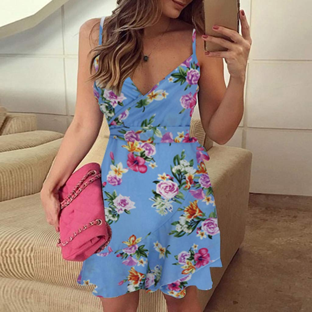 Mlide Women Spaghetti Strap Sweetheart Halter Neck Mini Dress Boho Floral Print Sleeveless Beachwear Dress