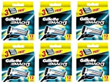 Gillette Mach3 Refill Razor Blade Cartridges, 12 Count (Pack of 6) + FREE Curad Dazzle Bandages, 25 Ct.