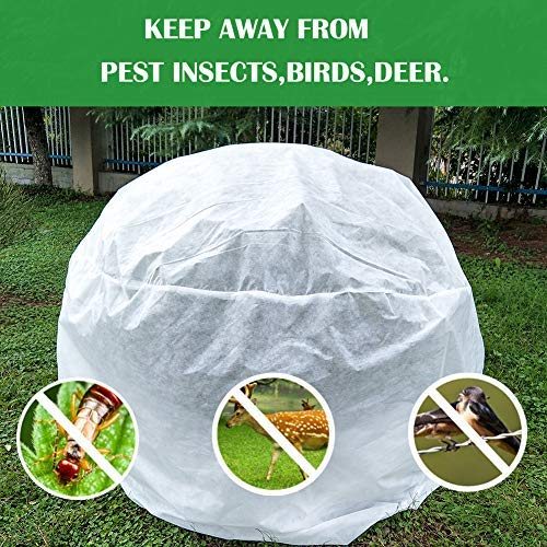 OriginA Warm Plant Cover Winter Protection Bag Shade Cloth and Insect Barrier Bag Shrub Jacket for Season Extension&Frost Protection, 1.5oz/sq.yd, Height 72″ x Dia 72″
