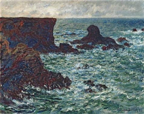 The High Quality Polyster Canvas Of Oil Painting 'Rocks At Port-Coton, The Lion, 1886 By Claude Monet' ,size: 16x20 Inch / 41x51 Cm ,this High Quality Art Decorative Prints On Canvas Is Fit For Game Room Decor And Home Decor And (Dead Money Snow Globe)