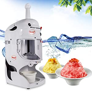 DONNGYZ Shaved Ice Machines Commercial,Tabletop Electric Ice Crusher Shaver Machine Snow Cone Maker Shaved Ice,Thickness Adjustable,110V 350W(US Stock)