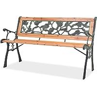 INLIFE Garden Bench 122 cm Wood Garden Bench Outdoor Lounge Seat Backyard Armchairs Patio Furniture