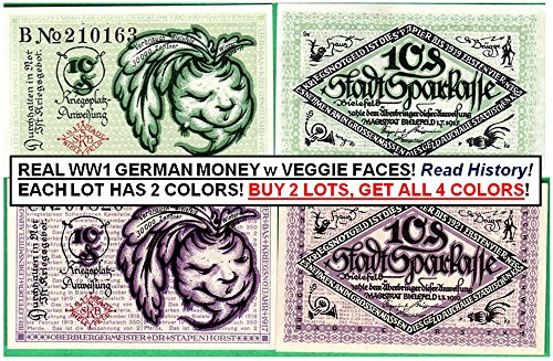 DE 1917 RARE ORIGINAL PAIR OF MINT WW1 NOTGELD BILLS w VEGGIE HEADS! ADD 2ND LOT FOR 2 ADDITIONAL DEISGNS! AU-CU