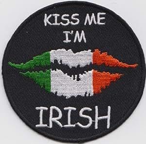 Irlanda Bésame soy irlandeses bandera bordada insignia redonda