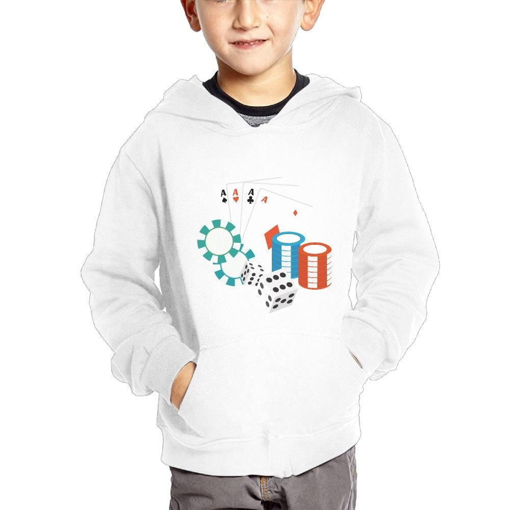 Playing Card Element Breathable Hooded Pocket Sweater for Children Spring//Autumn//Winter Outfit Long-Sleeved Hoodie