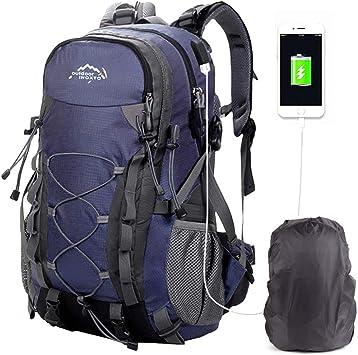 Mochilas De Marcha, Mochila De Senderismo Trekking Mujer Hombre Resistente Al Agua 40L litros Al Aire Libre Ligera Gran Capacidad para Viajes ...