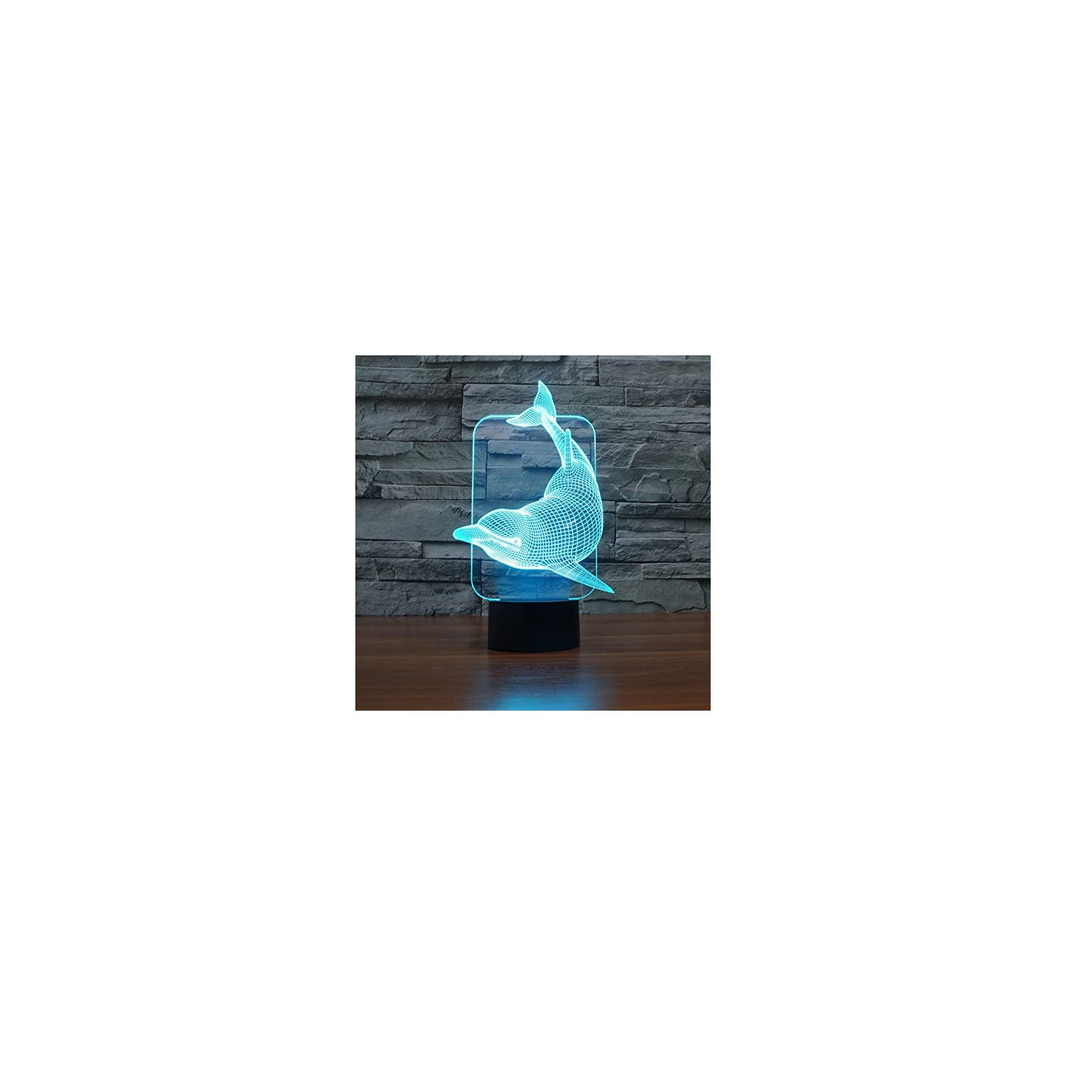 SUPERNIUDB Lovely 3D Dolphin 3D Night Light Table Desk Optical Illusion Lamps 7 Color Changing Lights