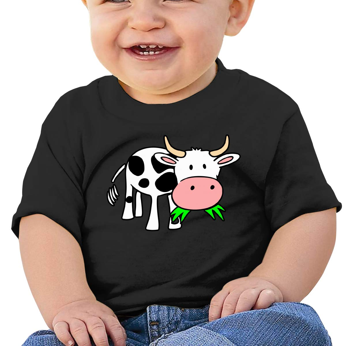 ZUGFGF-S3 Elegant Cow Newborn Baby Newborn Short Sleeve T-Shirt 6-24 Month Cotton Tops