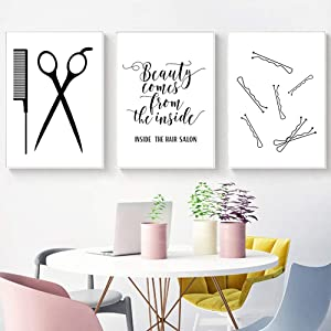 Hair Salon Wall Art Beauty Salon Pictures Wall Decor Fashion Canvas Art Beauty Shop Wall Art Modern Prints Vanity Wall Painting for Beauty Room Poster Makeup Wall Art Hairstylist Beauticians Unframed