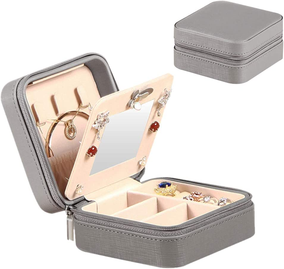 YAPISHI Travel Jewelry Case for Girls Women, Portable Storage Jewelry Box with Makeup Mirror, Small Jewelry Organizer for Earrings Necklace Rings Bracelet Watch Cosmetic, Leatherette Grey Display Case