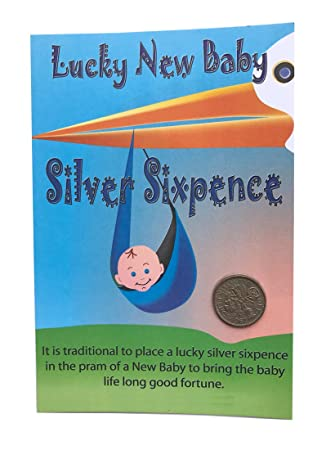New baby lucky silver sixpence gift card greetings blue boy new baby lucky silver sixpence gift card greetings blue boy m4hsunfo