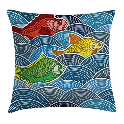 """Ambesonne Colorful Throw Pillow Cushion Cover, Group of Ornate Colorful Fishes on The Waves Cartoon Style Storm Oceanlife Theme, Decorative Square Accent Pillow Case, 24"""" X 24"""", Red Blue"""