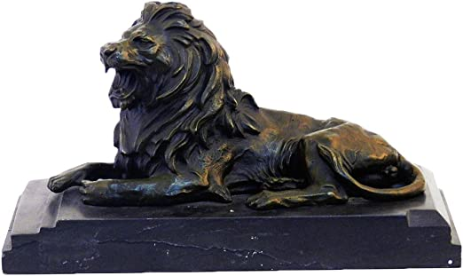 """Guardian Lion Bronze Sculpture on Marble Base 7/"""" x 12/"""""""