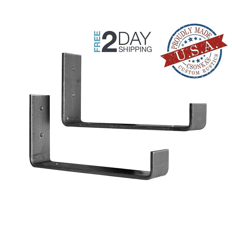 """2 Pack - 7.25""""L x 4""""H Hook Brackets, Hook Iron Shelf Brackets, J Bracket, Metal Shelf Bracket, Industrial Shelf Bracket, Modern Shelf Bracket"""