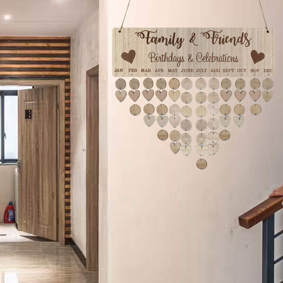 Garneck Nordischen Stil Familie und Freunde Geburtstage und Feiern Erinnerung Kalender aus Holz DIY Kalender Geburtstag Jubil/äum Erinnerung h/ängende Dekoration 1 St/ück