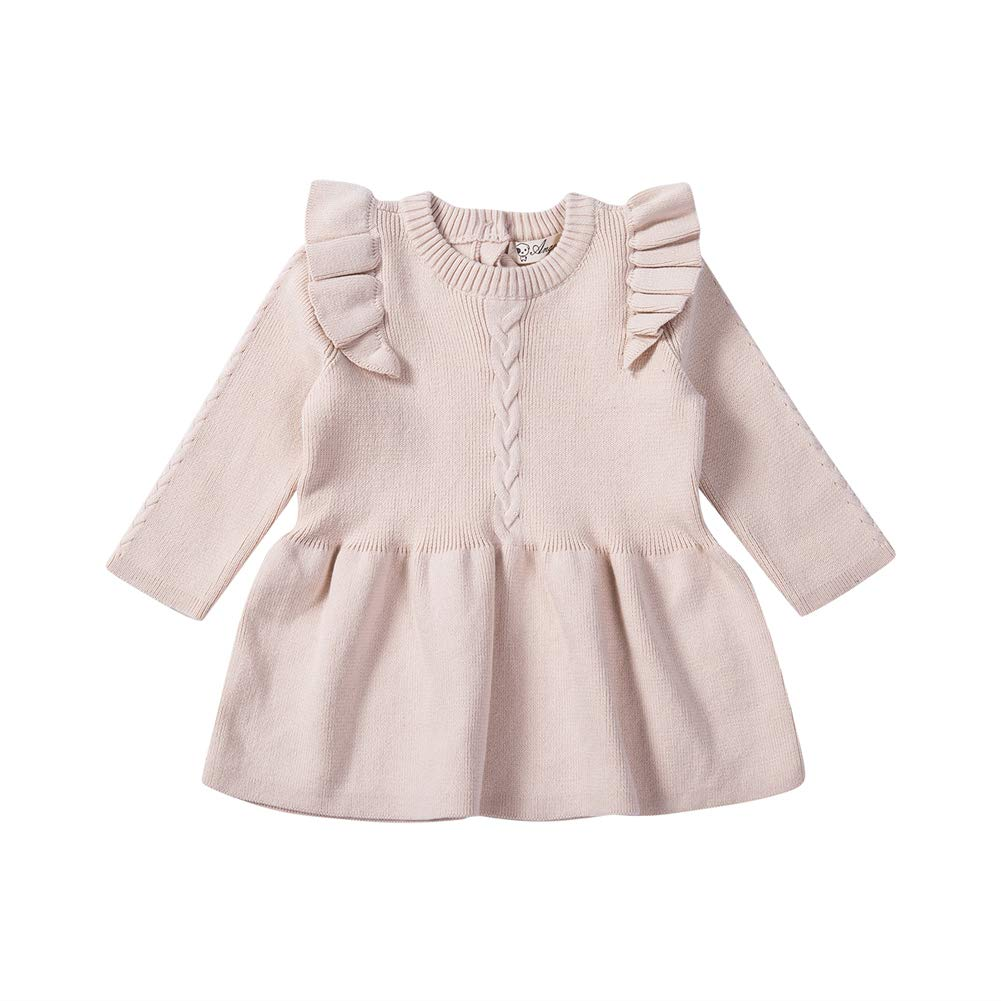 Aoty Toddler Baby Girls Long Sleeve Dresses Ruffled Skirt Infant Fall Outfits