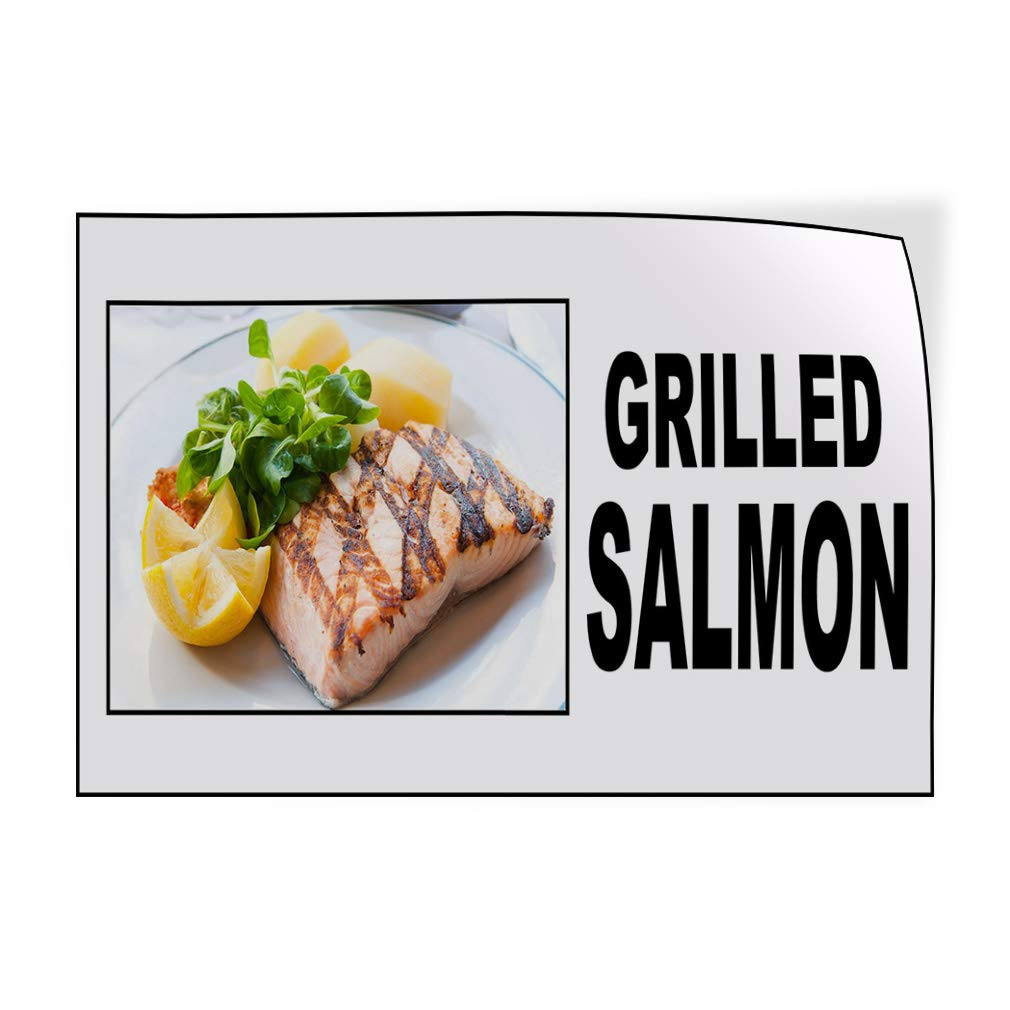 Decal Sticker Multiple Sizes Grilled Salmon Food Fair Restaurant Cafe Market Restaurant & Food Grilled Salmon Outdoor Store Sign White - 27inx18in, by Sign Destination
