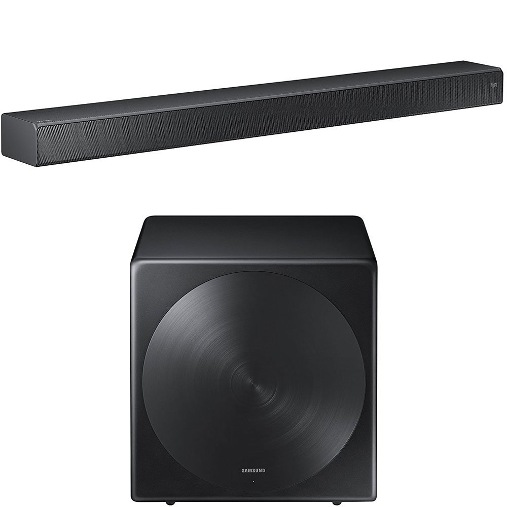 Samsung HW-MS750 Sound+ Premium Soundbar with Samsung SWA-W700 Wireless Sleek Unibody Design Subwoofer by Samsung