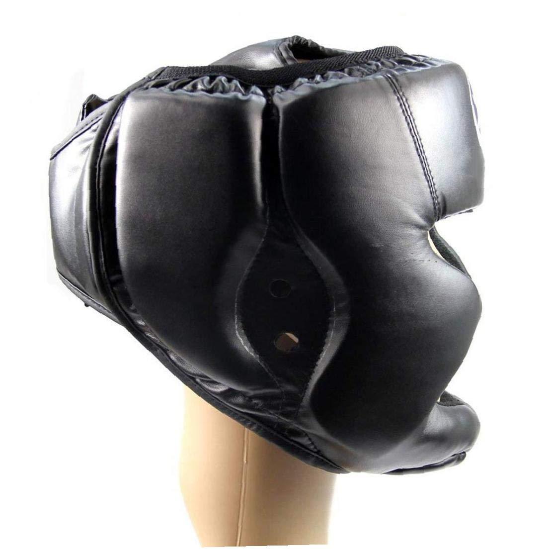 Regolabile Buona copricapo della testa del casco formazione Kick Boxing protezione degli ingranaggi nero